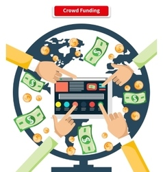 Concept crowd funding banknotes and coins vector
