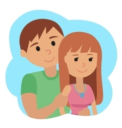 Couple younger man and woman in cloud icon vector