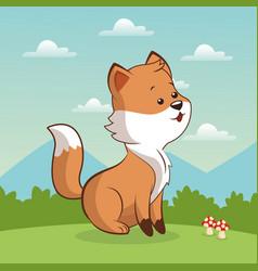 Cute fox sitting landscape vector
