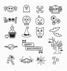 Cute halloween black line icons set on white vector