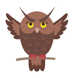 Cute owl cartoon flat sticker or icon vector