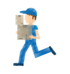 Drawing man delivery running box work vector