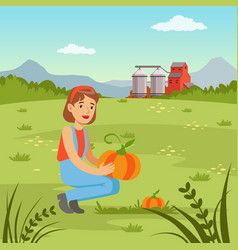 farmer woman harvesting pumpkins in the field vector image vector image