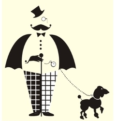 Fun gentlemanwith a dog vector