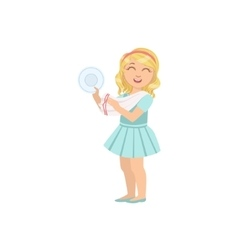 Girl drying clean plate with towel vector