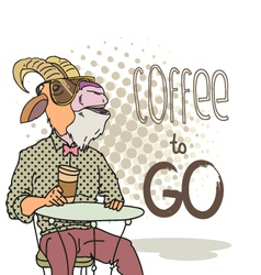 Goat with cup of coffee vector