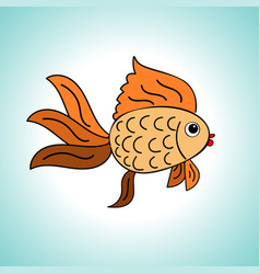 Goldfish on a blue background vector