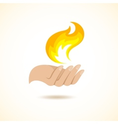 Hands hold fire vector image
