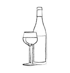 monochrome blurred contour of glass cup and bottle vector image