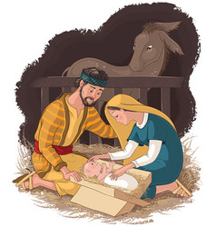 Nativity scene with jesus mary and joseph vector