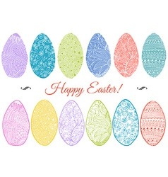 Ornamental hand drawn sketch of easter eggs in vector image