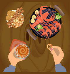 person eating grilled sea food vector image vector image
