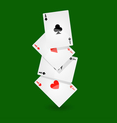playing cards set of four on green background vector image vector image