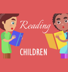 Reading for children poster with boys vector