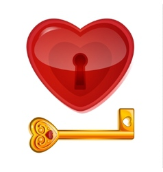 Red lock in the shape of heart vector