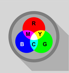 rgb button icon flat style vector image