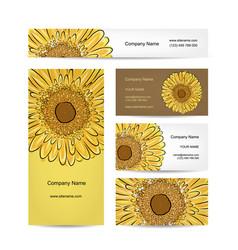 Set of creative business cards sunflower design vector