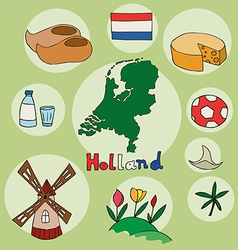 set of national profile of the holland vector image