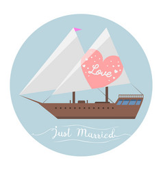 Ship wedding just married sea transportation vector