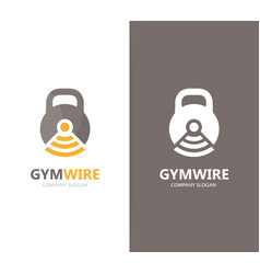 sport and wifi logo combination gym and vector image vector image