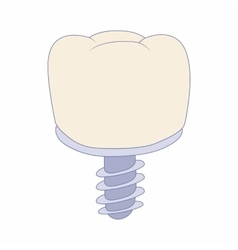 Tooth implant icon cartoon style vector image vector image