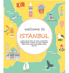 tourist leaflet with destinations of istanbul vector image vector image