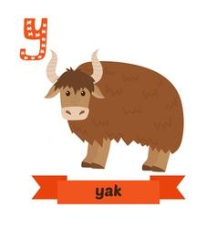 Yak y letter cute children animal alphabet in vector