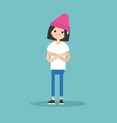 Young sceptical girl crossing arms and tilting vector