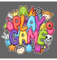 Game kawaii print cute gaming design elements vector