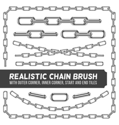 Realistic metal chain set silver chains vector