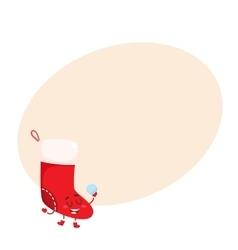Funny Christmas boot stocking character vector image