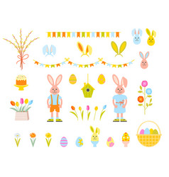 Big collection of happy easter objects vector
