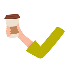 Woman arm hand holding coffee cup breakfast vector