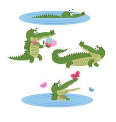 cartoon crocodiles on nature isolated vector image