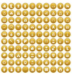 100 kindergarten icons set gold vector