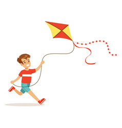 Happy boy enjoying flying kite kids outdoor vector