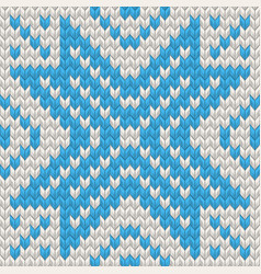 Nordic knitted texture blue on white seamless vector