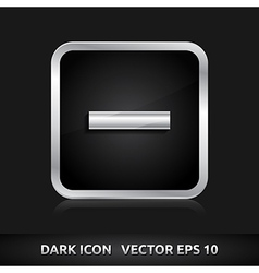Minus delete close icon silver metal vector