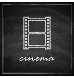 Vintage with film strip sign on blackboard vector