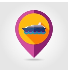 Cruise liner ship flat mapping pin icon vector