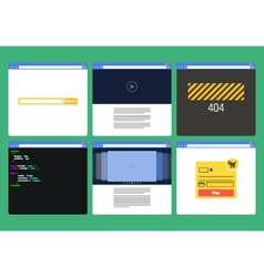 Set of flat style browser windows with content vector