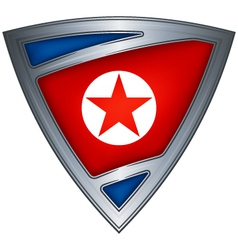 Steel shield with flag north korea vector