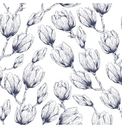 Magnolia seamless pattern vector image