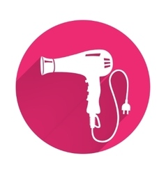 Professional blow hairdryer and two-pin plug icon vector