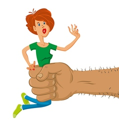Hand holds scared woman vector