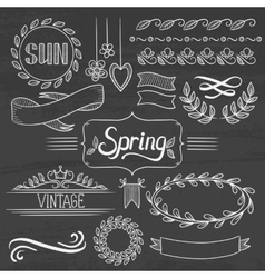 Set of spring ribbons and elements vector