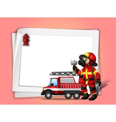 A fireman holding an ax beside his fire truck with vector image