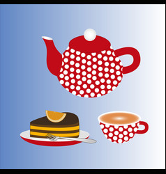 a teapot with a cup of tea and a cake vector image