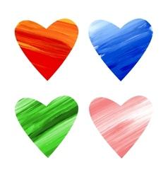 Acrylic colorful hearts vector image vector image