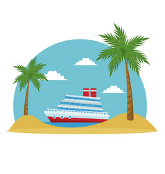 cartoon cruise ship tropical beach palm tree vector image vector image